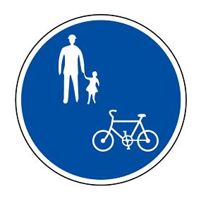 如果人行道有此標誌,則代表單車可以通行。但務必禮讓行人優先喔 / 圖片來源:日本內閣府交通安全イラスト集