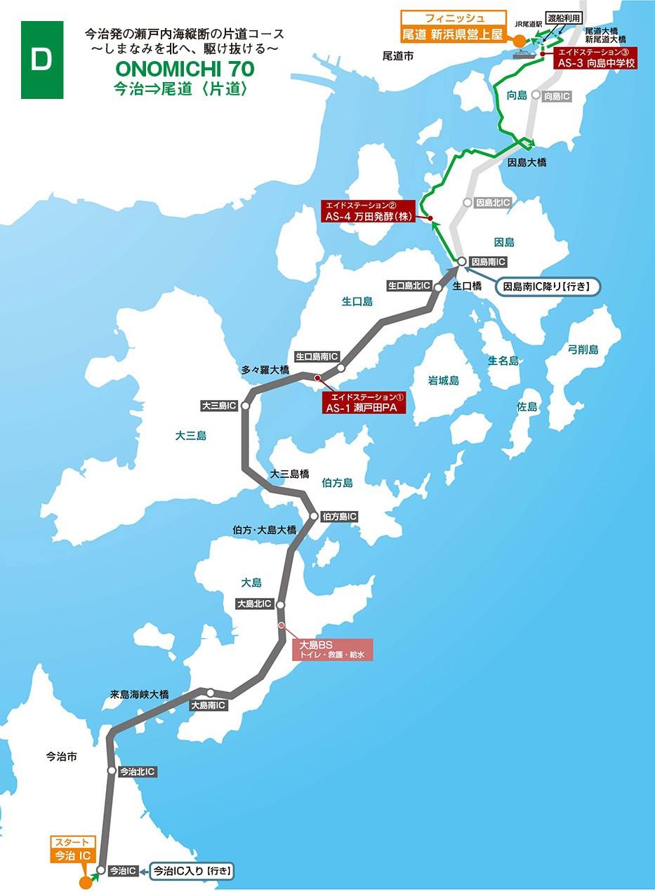 本次參加的路線,也是最推薦的組別。既可享受封路快感,關門時間也不會太急迫。圖片來源:https://cycling-shimanami.jp/course.html